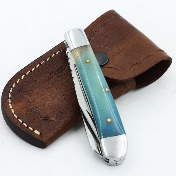MAYA Handmade D2 Steel Trapper knife with colored bone handle