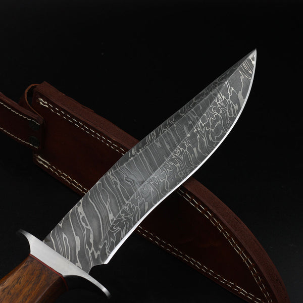 Handmade Damascus Steel Bowie Knife Wooden Handle Hunting Knives Military Collector's Custom Full Tang Crafted