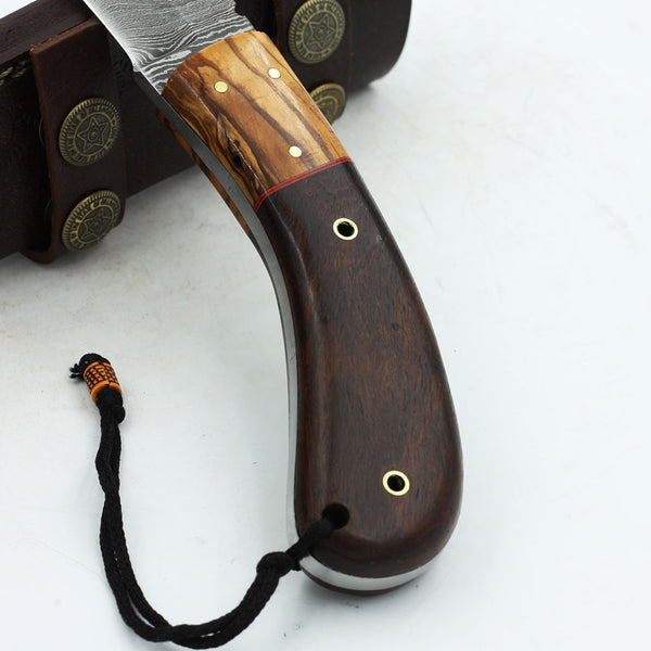 MICAELA Custom Handmade Damascus steel hunting knife with olive wood and rosewood handle