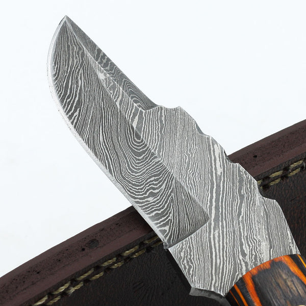 MICHELLE Custom handmade Damascus steel hunting knife with olive wood handle