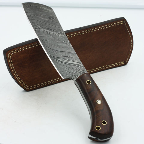 MONICA Handmade Damascus steel chopper hunting knife with rosewood handle