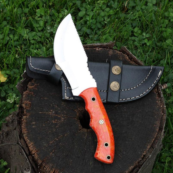 MOXIE D2 Stainless steel custom tracker knife with orange/ red colored camel bone handle