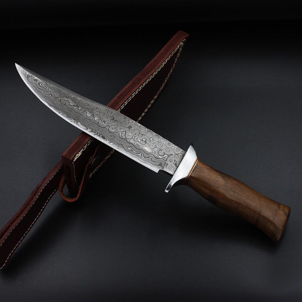 MAGNOLIA Full tang Handmade Damascus Bowie Knife (with Genuine Leather Sheath)