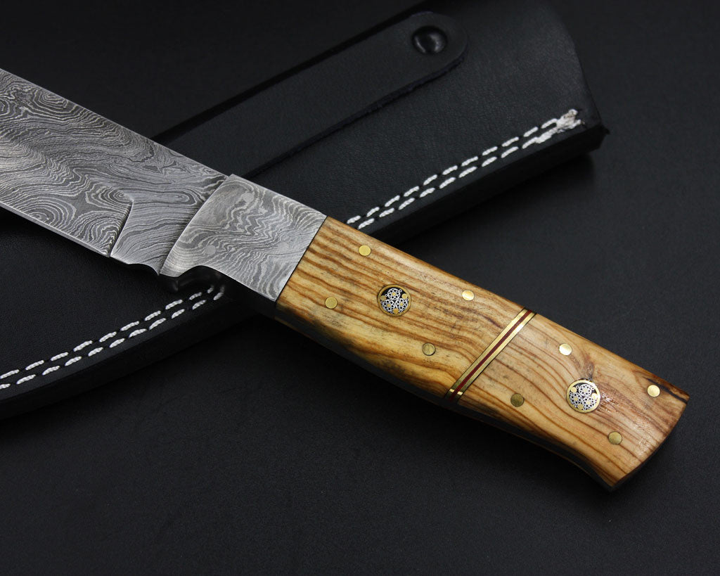 NANCY Handmade Damascus Outdoor Hunting Knife (with Genuine Leather Sheath)
