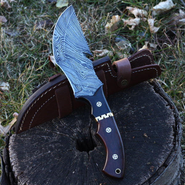 NISA Handmade Damascus steel tracker knife with rosewood and micarta