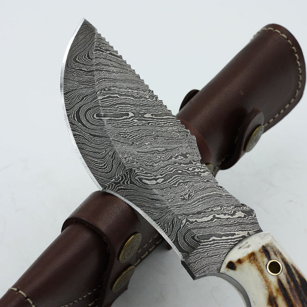 Handmade Damascus steel tracker knife with stag horn handle