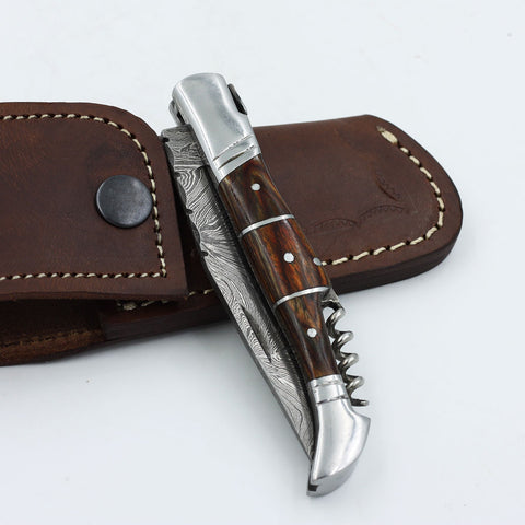 ORA Handmade Damascus steel corkscrew lagouille knife with a rosewood handle and stainless steel bolsters
