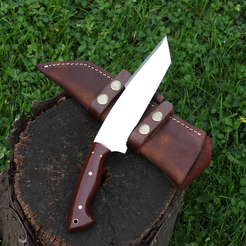 PIPPA Handmade D2 stainless steel bowie knife with red micarta handle