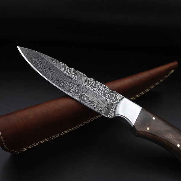 Handmade Damascus Steel Hunting Knife Walnut Wood Handle Stainless Steel Bolster Outdoor Knives Leather Sheath Full Tang Crafted