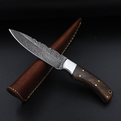 PRISCILLA Handmade Damascus Steel Hunting Knife (with Genuine Leather Sheath)