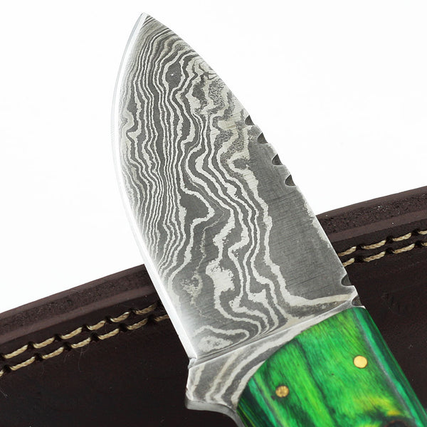 RAVEN Custom Handmade Hunting Knife with olive wood and Damascus steel