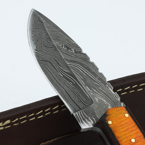 RIA Custom Handmade Damascus steel hunting knife with colored olive wood handle