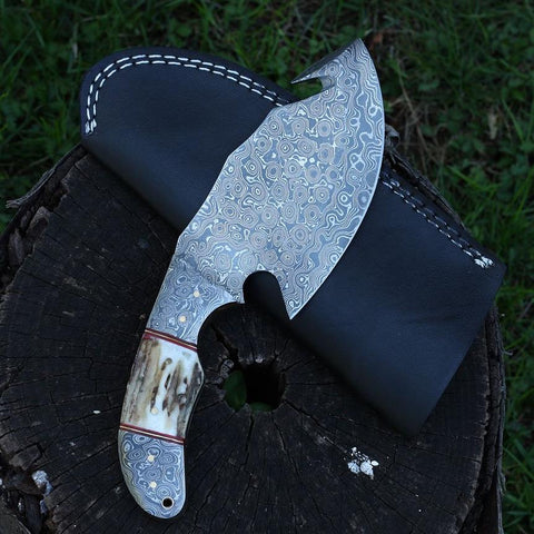 Handmade Damascus Steel Gut Hook Skinning Hunting Knife Stag Horn Handle Damascus Bolster Outdoor Full Tang Fixed Blade