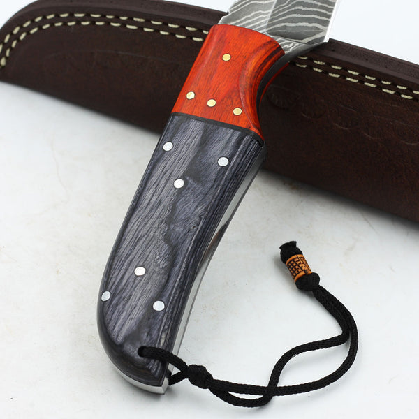 SABRINA Custom Handmade Damascus steel hunting knife with colored olive wood handle