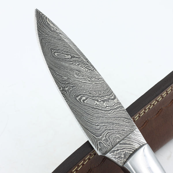 SARA Handmade Damascus steel hunting knife with wooden handle
