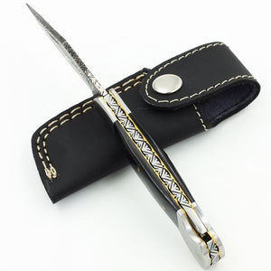 SIENA Custom Handmade Damascus steel pocket knife with buffalo horn handle