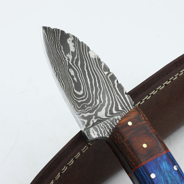 Sophie Handmade custom Damascus steel hunting knife with olive wood and rosewood handle