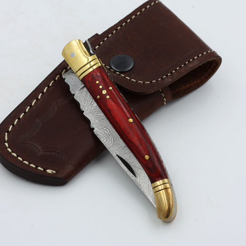 SUNNY Handmade Damascus steel folding knife with an olive wood handle and brass bolsters