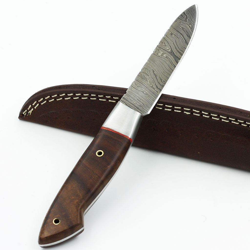 SUZY Custom handmade hunting knife with rosewood handle and Damascus steel