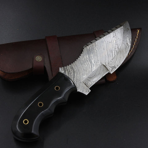 TALLULAH Custom Handmade Damascus Tracker (with Genuine Leather Sheath)