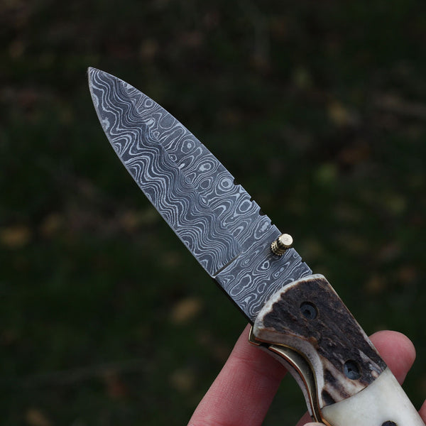 Damascus Steel Pocket Knife, Everyday carry folding knife, stag horn, camel bone, handmade Jackson Blades