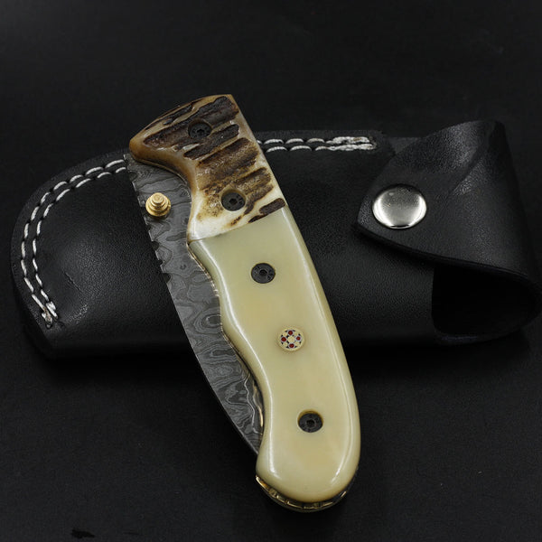 TARA Handmade Damascus Folding Knife (with Genuine Leather Sheath)