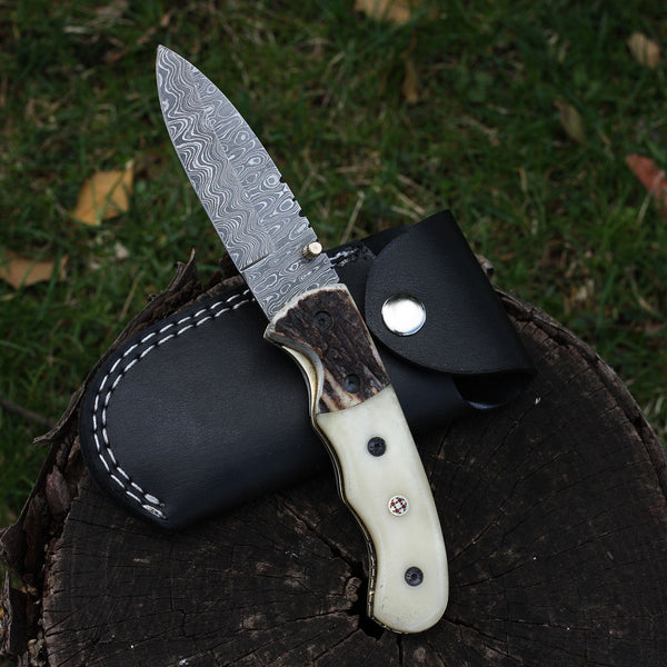 Damascus Steel Pocket Knife, Everyday carry folding knife, stag horn, camel bone, handmade
