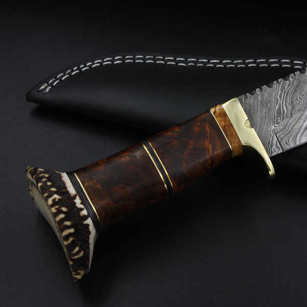 VIRGINIA Full Tang Handmade Outdoor Hunting Knife (with Genuine Leather Sheath)