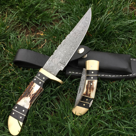 BETSY ANN Custom Handmade Damascus Hunting Knife & Pocket Knife Set (with Genuine Leather, Multiple Knife Sheath)