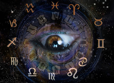 zodiac symbols in the background of an eye