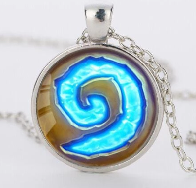 Hearthstone Glass Round Pendant Charm Necklace for guys
