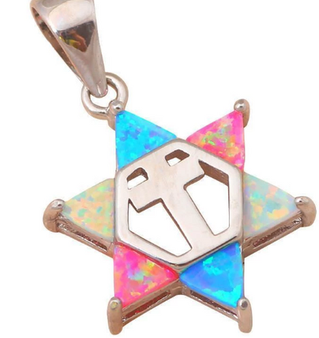 Star of David & Cross Fire Opal Silver Pendant for Guys