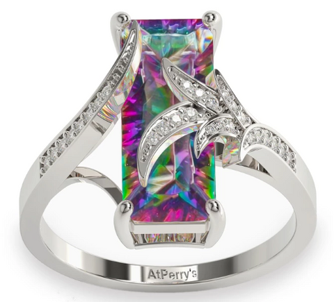 Luxurious Rainbow Mystic Topaz Ring - 925 Sterling Silver