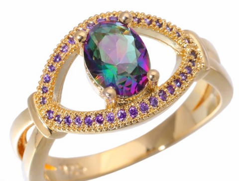 Rainbow Topaz & Crystal Ring