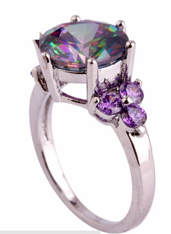 Mysterious Rainbow Topaz & Amethyst Silver Ring