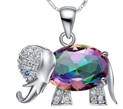 Rainbow Mystic Topaz Elephant Necklace