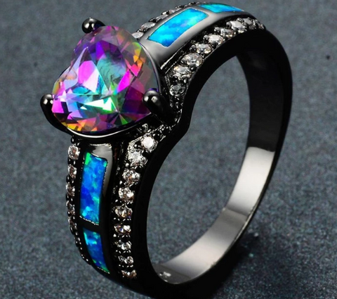 Mystic Topaz & Blue Fire Opal Heart Ring