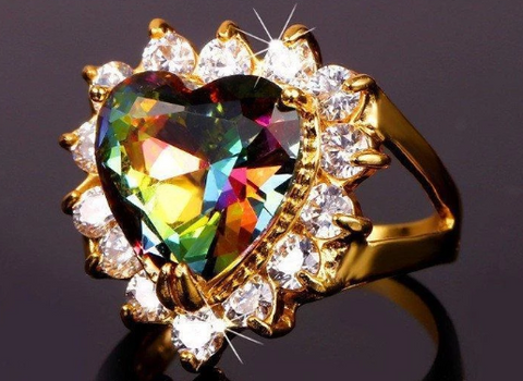 Gold Plated Mystic Fire Topaz Crystal Heart Ring