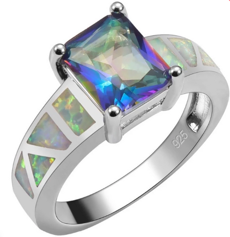Rainbow Topaz With White Fire Opal Sterling Silver Square Ring