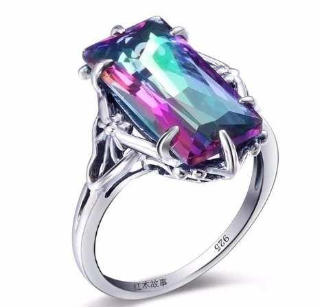 Mystic Topaz Crystal Ring - 925 Sterling Silver