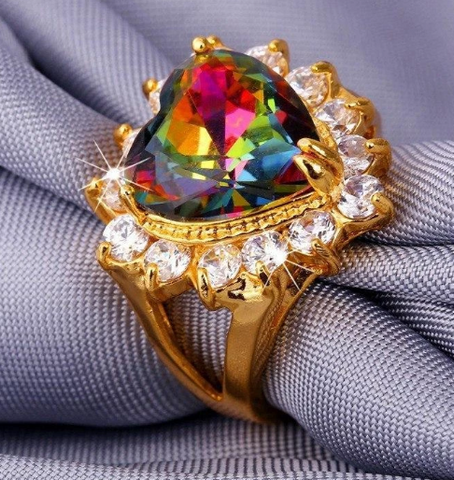 Gold Plated Mystic Topaz Crystal Heart Ring