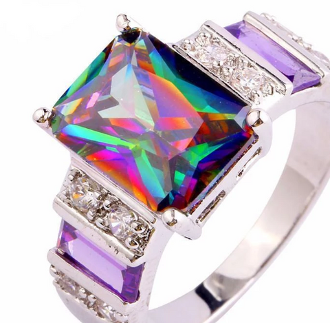 Rainbow Topaz Amethyst Ring