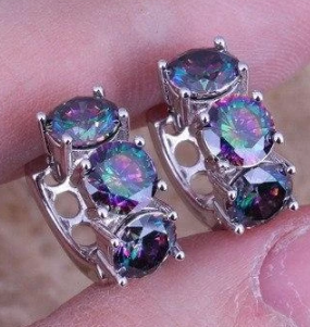 Rainbow Mystic Topaz 925 Sterling Silver Huggie Hoop Earrings