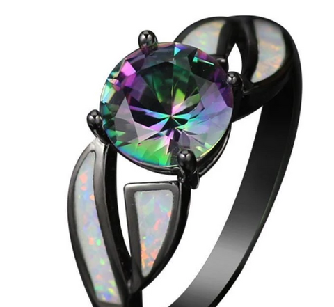 Rainbow Topaz Fire Opal Ring