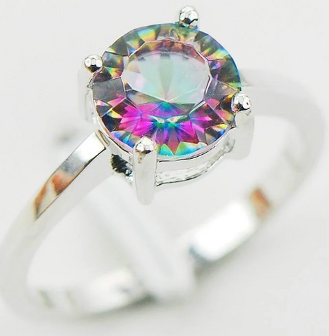Rainbow Mystic Topaz 925 Sterling Silver Ring