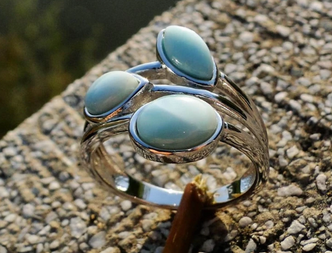 Vintage Natural Larimar Ring - 925 Sterling Silver