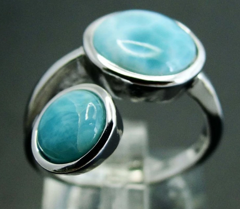 Round Natural Larimar Ring - 925 Sterling Silver