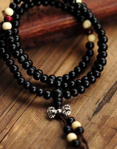 Ebony Separated Beads Rosary Bracelet Jewelry