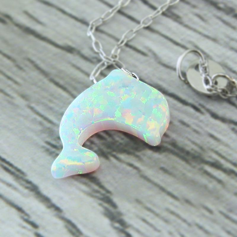 Dolphin White Fire Opal Necklace - 925 Sterling Silver
