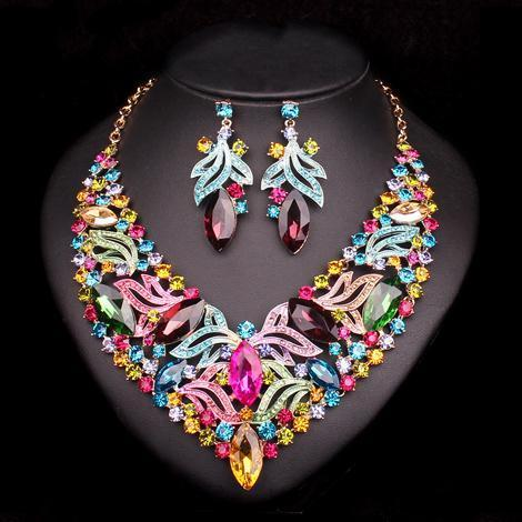 Luxury Multi Stone Set - Necklace, Earrings.Jewelry Set